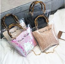 Casual Style 2WAY Plain Crystal Clear Bags Totes