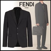FENDI BAG BUGS Short Wool Plain Logo Blazers Jackets