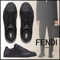 FENDI Street Style Plain Leather Logo Sneakers