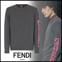 FENDI Crew Neck Cashmere Street Style Long Sleeves Plain