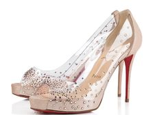 Christian Louboutin Open Toe Suede Blended Fabrics Studded Pin Heels