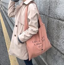 SECOND MORNING Unisex Street Style Plain Logo Shoppers