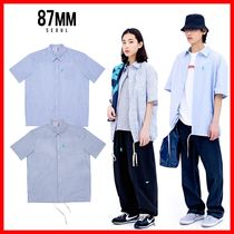 87MM Casual Style Unisex Street Style Cotton Shirts & Blouses