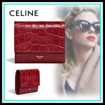 CELINE Tri Fold Calfskin Blended Fabrics Home Party Ideas Folding Wallets