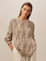 Massimo Dutti Crew Neck Cable Knit Casual Style Long Sleeves Plain Medium
