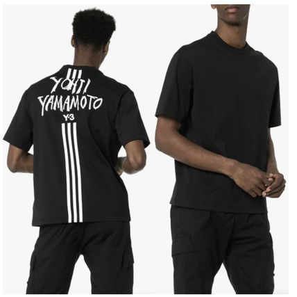 Y-3 More T-Shirts Unisex Street Style Cotton Logo T-Shirts