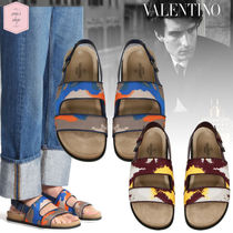 VALENTINO Camouflage Suede Blended Fabrics Street Style Sandals