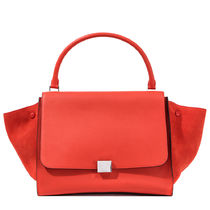 CELINE Trapeze Plain Leather Elegant Style Totes