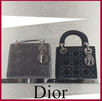 Christian Dior LADY DIOR 2WAY Plain With Jewels Elegant Style Handbags