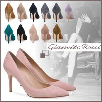 Gianvito Rossi Suede Elegant Style Pointed Toe Pumps & Mules