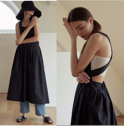 Casual Style Maxi Sleeveless Street Style Plain Long Dresses