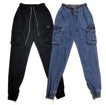 Denim Street Style Plain Oversized Joggers & Sweatpants