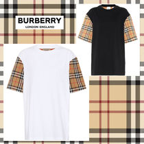 Burberry Crew Neck Other Check Patterns Cotton Medium Short Sleeves