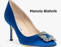 Manolo Blahnik Hangisi Pin Heels Party Style With Jewels Pointed Toe Pumps & Mules
