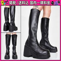 DOLLS KILL Round Toe Plain Leather Wedge Boots