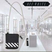 Off-White Chain Leather Coin Cases