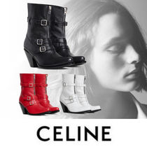CELINE Casual Style Blended Fabrics Plain Leather High Heel Boots