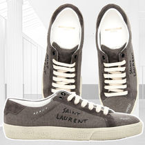 Saint Laurent Round Toe Rubber Sole Casual Style Suede Blended Fabrics