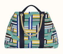 HERMES Casual Style Canvas Blended Fabrics Street Style A4 Totes