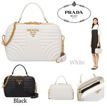 PRADA DIAGRAMME Casual Style Calfskin Studded 2WAY Chain Plain Shoulder Bags
