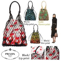 PRADA Flower Patterns Casual Style Purses Shoulder Bags