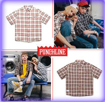 PUNCHLINE Tartan Unisex Street Style Cotton Short Sleeves Shirts