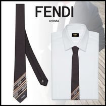FENDI Flower Patterns Silk Ties