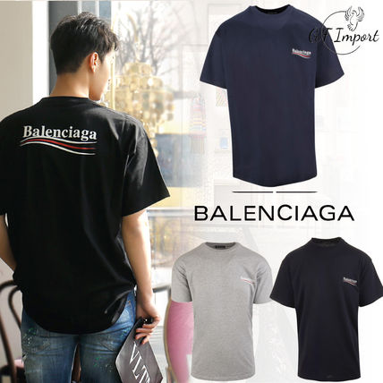 BALENCIAGA Crew Neck Crew Neck Unisex Street Style Cotton Short Sleeves