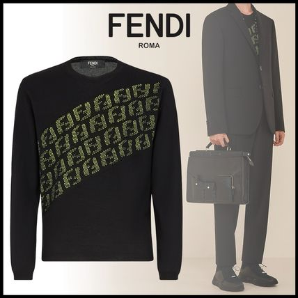 FENDI Knits & Sweaters Crew Neck Pullovers Wool Street Style Long Sleeves Plain