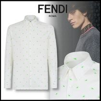 FENDI BAG BUGS Button-down Long Sleeves Cotton Shirts