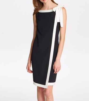 Sleeveless Boat Neck Bi-color Plain Party Style Office Style