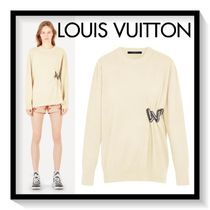 Louis Vuitton Crew Neck Short Casual Style Wool Long Sleeves Plain Cropped