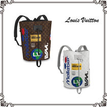 Louis Vuitton MONOGRAM Monogram Unisex Canvas A4 Purses Elegant Style Backpacks