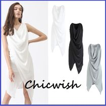 Chicwish Tight Sleeveless V-Neck Plain Medium Party Style Dresses