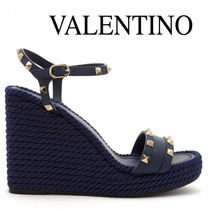 VALENTINO Open Toe Plain Leather Elegant Style