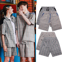 WV PROJECT Printed Pants Short Other Check Patterns Casual Style Unisex