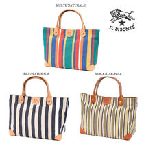 IL BISONTE Stripes Casual Style Unisex Canvas Totes