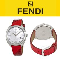 FENDI Casual Style Unisex Street Style Leather Analog Watches