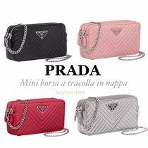 PRADA Casual Style Chain Plain Leather Shoulder Bags