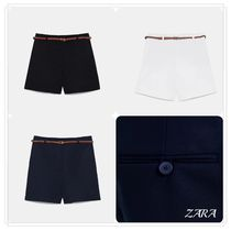 ZARA Short Plain Cotton Elegant Style Denim & Cotton Shorts
