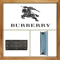 Burberry Other Check Patterns Leather Long Wallets