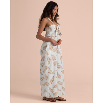 Tropical Patterns Casual Style Sleeveless Cotton Long