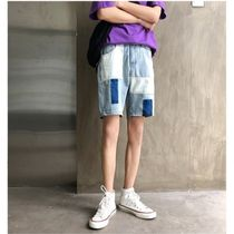 Denim Street Style Plain Oversized Cargo Shorts