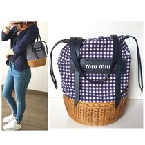 MiuMiu Gingham Canvas Blended Fabrics Straw Bags