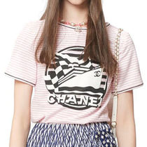 CHANEL Short Stripes Blended Fabrics U-Neck Cotton Short Sleeves