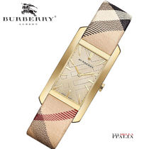 Burberry Casual Style Leather Square Quartz Watches Analog Watches