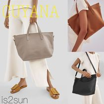 CUYANA Street Style A4 2WAY Plain Leather Office Style Totes
