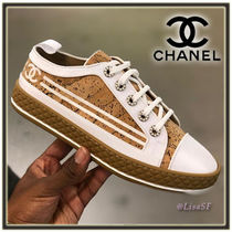 CHANEL Lace-up Casual Style Low-Top Sneakers