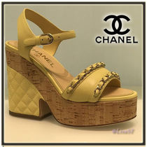 CHANEL Open Toe Platform Chain Plain Leather Elegant Style