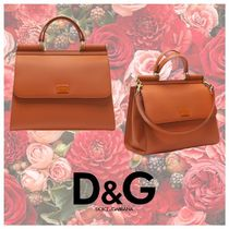 Dolce & Gabbana SICILY Casual Style Plain Leather Totes